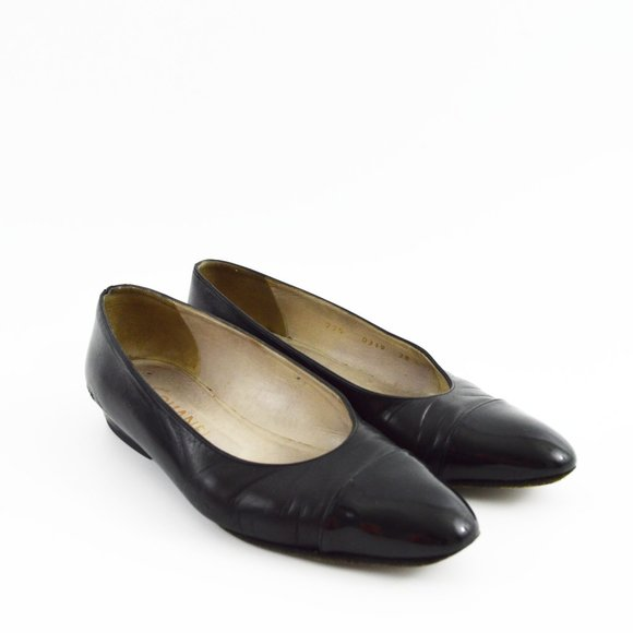 Chanel Leather Patent Toe Ballet Flats #199-34